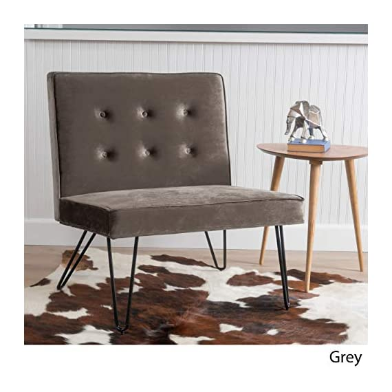Christopher Knight Home Darrow Velvet Modern Armless Chair, Grey - This luxurious yet simple chair balances comfort and practicality to accommodate all the sides of your life. Combining a soft velvety surface with minimal iron legs, it will be at home in any room, Matching with both modern and traditional decor. - living-room-furniture, living-room, accent-chairs - 516mvgtKm9L. SS570  -