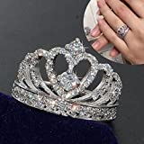 by lucky Women Fashion Jewelry 925 Silver White Sapphire Wedding Bridal Heart Crown Ring (7)