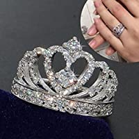suwanpoomshop Crown 925 Silver White Sapphire Queen Ring Engagement Proposed Women Jewelry (10)