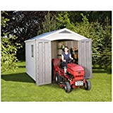 Keter Factor Apex Shed (8 x 11ft) and an Accompanying CLOSED CELL FOAM SLEEPING BAG/MAT - The Plastic Garden Shed is a Two-Door Entry Shed is Built to Last. An Outdoor Storage Space with Plenty of Room --- See Description of the Closed Cell Foam Sleeping Bag/Mat for more details - Shed comes with a 10 Year manufacturer's warranty