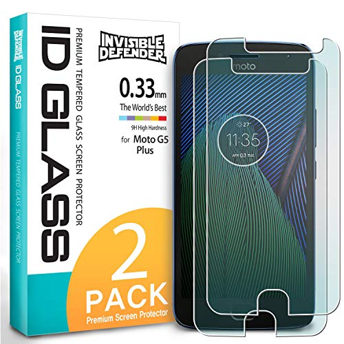 Ringke Screen Protector Compatible with Motorola Moto G5 Plus - Invisible Defender Tempered Glass (2 Pack) Case Compatible Ultimate Clear Shield, High Definition Quality, 9H Hardness Technology Film