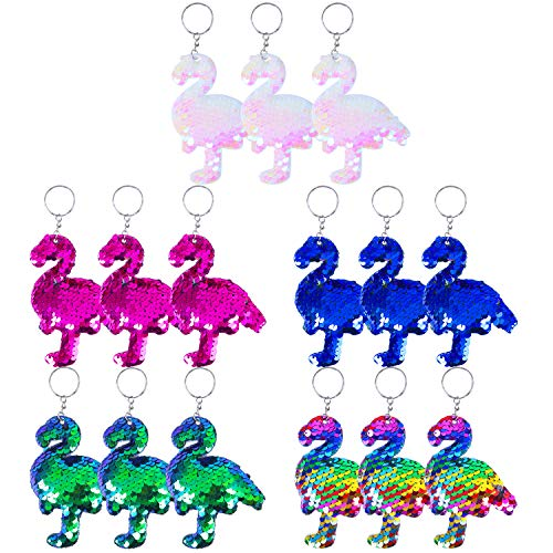 Aneco 15 Pack Flip Sequin Key Chain Flamingo Shape Party Favors Key Ring Hanging Key Chain Decoration for Party Supplies, 5 Colors ()