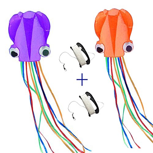 Octopus Kite (Kites 2Pcs Purple And Orange Octopus Portable Kite Nylon & Polyester Material - Perfect Toy for Kids and Children Outdoor Games Large 28 x 157 Inches | Extra 328 Feet Of Line Mayco Bell)