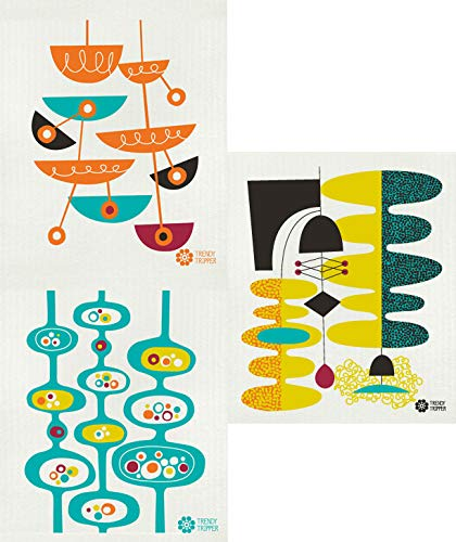 Trendy Tripper Reusable Swedish Dishcloths, Set of 3 Mid-Century Modern Designs by Jenn Ski - Assorted Colors (Wasabi/Turquoise Orange on Natural) (Orange Turquoise And Kitchen)