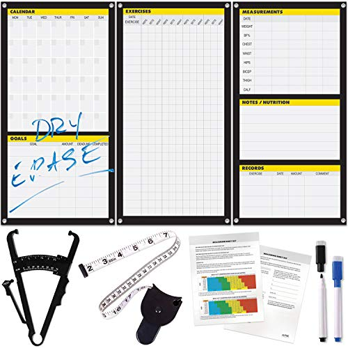 Dry Erase Workout Calendar Poster - Fitness Planner, Body Fat Caliper & Tape (Lifting Motivation)
