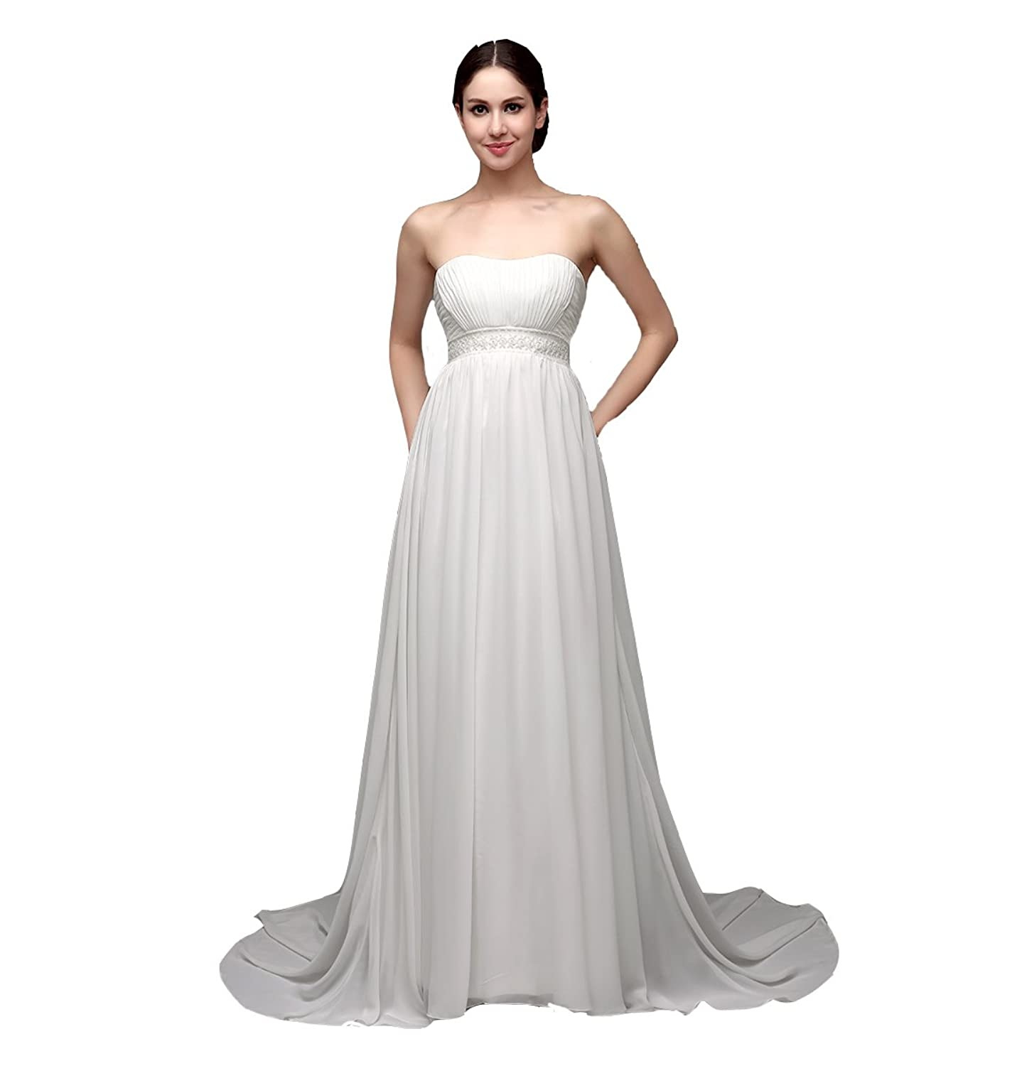 KekeHouse? Chiffon Wedding Dress A-line Strapless for Bride Floor Length Women's Wedding Dress With Train Pearls Sash Decorated