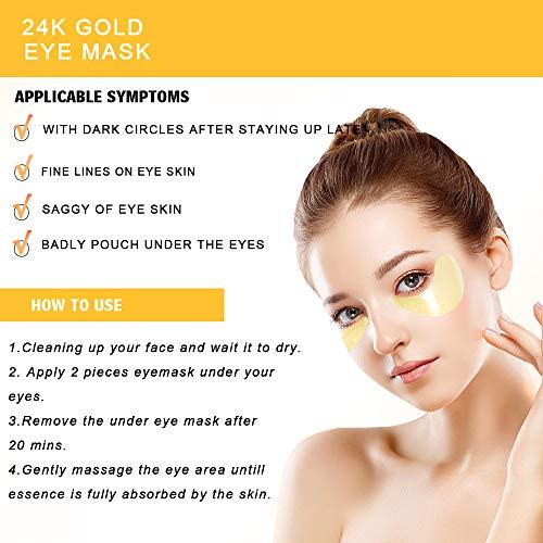 516mwEOOnrL - Under Eye Patches, 24K Gold Eye Mask, Eye Gel Pads Collagen Eye Treatment Masks Reduces Wrinkles and Puffiness Lighten Dark Circles Moisturizing and Anti Aging 60PCS