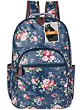 Leaper Waterproof Canvas + PVC Layer School Backpack Cute Floral Laptop Bag Casual Daypack (Large,Blue)