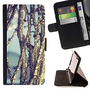 For Samsung Galaxy S4 IV I9500 Case , Hielo reflexivo sol Naturaleza Nieve- la tarjeta de Crédito Slots PU Funda de cuero Monedero caso cubierta de piel