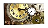 Steampunk Clock Mechanical Gadgets Flat Print Design - 5'' by 11'' Key Hanger Household Decoration with Four Hooks