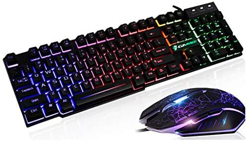 RGBIWCO - 1Set T6 Rainbow LED Backlit, Multimedia Ergonomic, USB Gaming Keyboard/Wired Mouse/Mouse Pad for PC Laptop Computer Users Gamers