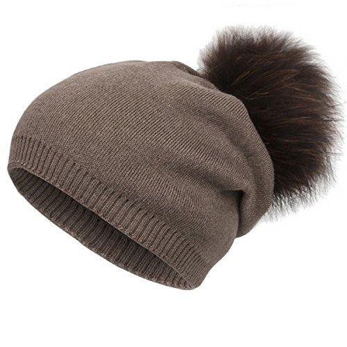 Cotton Blend Beanie - EVRFELAN Winter Raccoon Fur Pompom Hat Warm Thick Knit Skull Pure Color Fashion Cashmere Blend Slouchy Beanies for Women (Khaki)