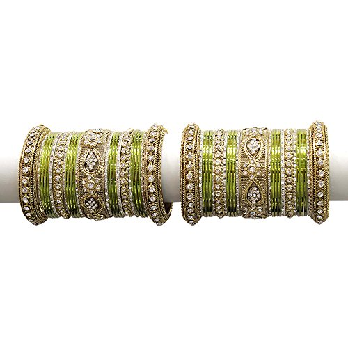 MUCH-MORE Beautiful Multi Color Bangles for Women & Girls Wedding Jewelry (Military, 2.6) (Bracelet Studded Diamond Bangle)