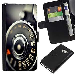 // PHONE CASE GIFT // Moda Estuche Funda de Cuero Billetera Tarjeta de crédito dinero bolsa Cubierta de proteccion Caso Samsung Galaxy S6 EDGE / Vintage Retro Camera Macro /