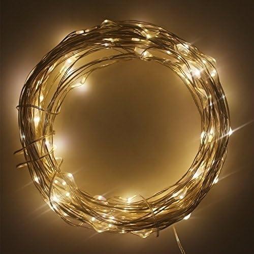 Eonfine Luces tiras de solares en alambre de cobre Flexible 72 ...