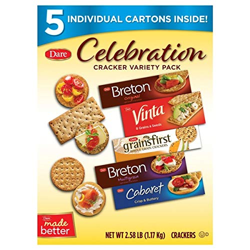Dare Assorted Gourmet Crackers Celebration Collection- Box of 5 Cartons Packs (2.58 Lbs -