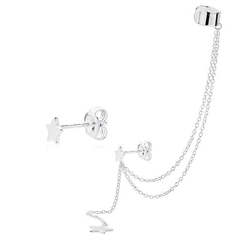Iyé Biyé Jewels - Pendientes Mujer Estrellas 5mm con Cadenas en Plata de Ley 925 Cierre Presión