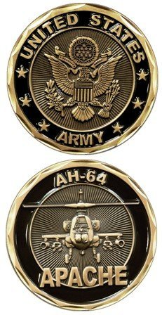 United States Military US Armed Forces Army AH-64 Apache Helicopter - Good Luck Double Sided Collectible Challenge Pewter Coin