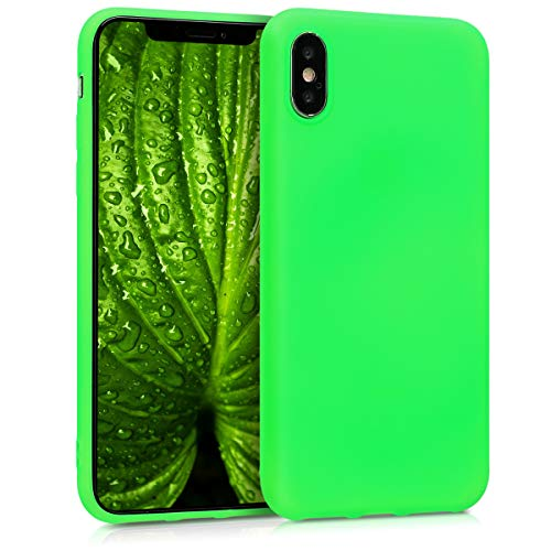 - kwmobile TPU Silicone Case for Apple iPhone X - Soft Flexible Shock Absorbent Protective Phone Cover - Neon Green