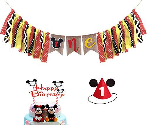 Mickey Mouse Kids First Birthday Decorations Kit, Mickey Mouse 1st Birthday Highchair Banner, Mickey Mouse Hat With Happy Birthday Cake Topper For Baby Girl Boy 1st Birthday Mickey Mouse Party Decorations Supplies. -