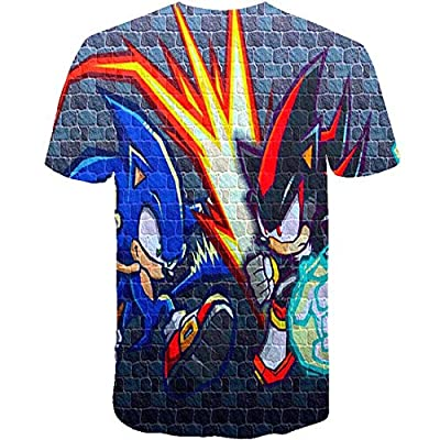 2020 New Boys Cartoon Red Sonic Clothes Girls 3D Funny T-Shirts Costume Children Spring Clothing Kids Tees Top Baby T Shirts: Clothing