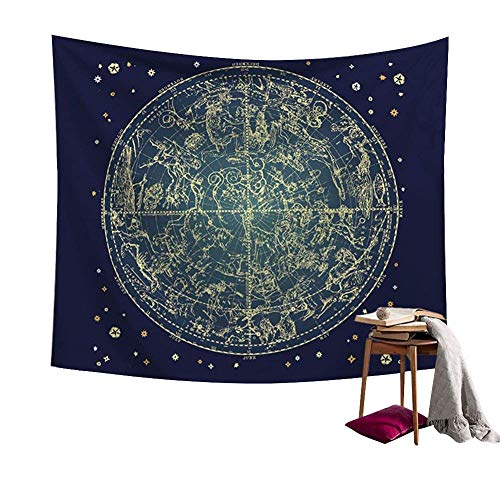 Chengsan Constellations Map Wall Decor Art Universe Galaxy Nebula Space Star Constellation Tapestry Wall Hanging Blue and Black Wall Collage Dorm Beach Bedroom Throw Tapestries (79X59 inch, 1)