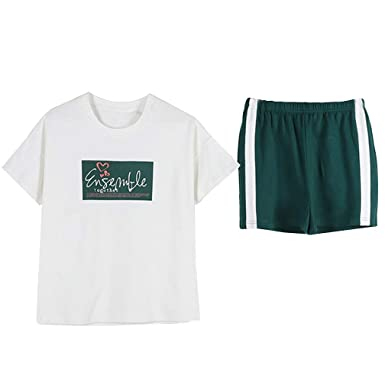 e360d55db176 Green pjs Big Girls Summer Pajama Set Cute Printed Cute Sleepwear Shorts  White