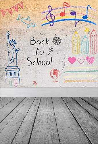Yeele 6x9ft Vinyl Back to School Backdrop for Photography Statue of Liberty Drawing Vintage Wooden Floor Background Opening Ceremony Teacher Students Kids Children Photo Booth Shoot Studio Props