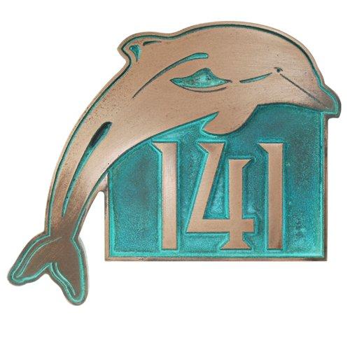 DolphinアドレスPlaque – 13 x 11 – RaisedブロンズVerdiメタルコーティングSign   B00IZL05PG