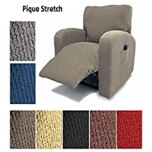 Orly's Dream Pique Stretch Fit Furniture Chair Recliner Lazy Boy Cover Slipcover Many Colors Available (Burgundy)