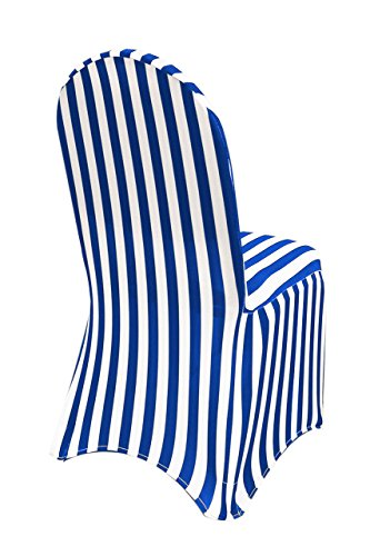 YCC Linen - Stretch Spandex Chair Cover Striped - Royal Blue and White