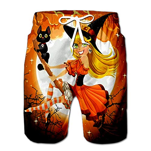 Quick Dry Beautiful Witch and Her Black Cat Familiar Flying On Broomstick Halloween Sky Beach Shorts Swim Trunks Board Shorts S -