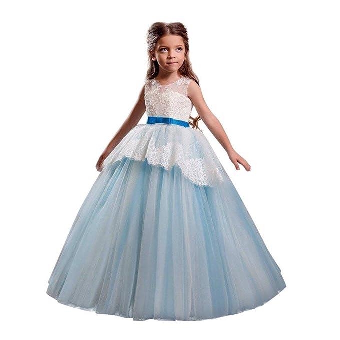 b8fbe2eda263 BaZhaHei Bambini Ragazze Pizzo Ricamo Fiore Matrimonio Festa di Compleanno  Principessa Abito Coda Lunga