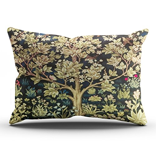 Fanaing Bedroom Custom Decor William Morris Tree of Life Floral Vintage Art Pillowcase Soft Zippered Colorful Throw Pillow Cover Cushion Case Fashion Design One-Side Printed King 20X36 Inches ()