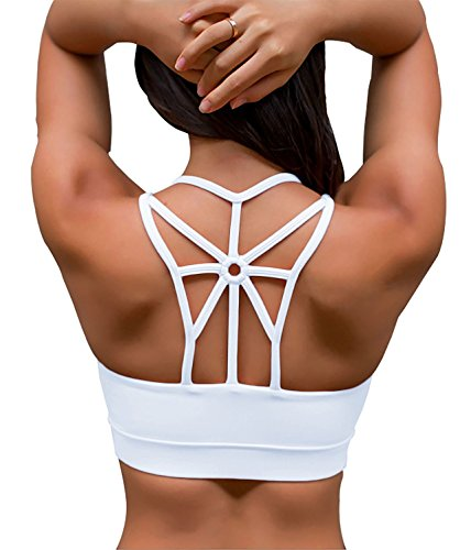 Cross Back Bra Top (YIANNA Women's Padded Sports Bra Cross Back High Impact Wirefree Strappy Workout Activewear Running Yoga Bra,YA-BRA139-White-M)