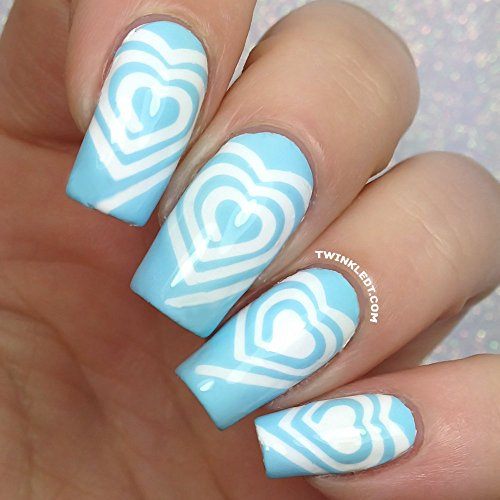 Original Heart Cyclones Nail Vinyls By Twinkled T - 1 Sheet of 48 (2 in Each Heart)