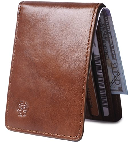 Mens Slim Front Pocket Leather Wallet ID Window Card Case with RFID Blocking (Brown) (Leather Brown Quality)