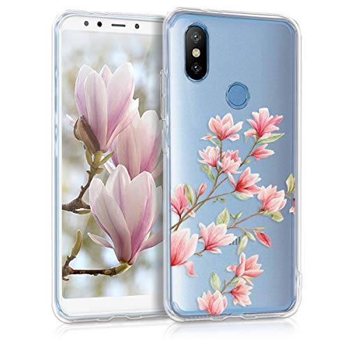 kwmobile TPU Silicone Case for Xiaomi Mi 6X / Mi A2 - Crystal Clear Smartphone Back Case Protective Cover - Light Pink/White/Transparent