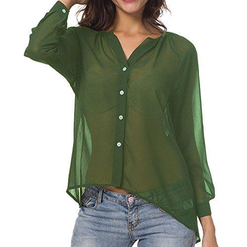95cff103b728 ,donna ,camicia Lunga Maglia Maniche Manica Chiffon Bluse Casual In  Estiva,t Verde Senza shirt Donna Donne Da ...