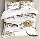 Ambesonne Reptiles Duvet Cover Set Queen Size, Multi Colored Staring Leopard Gecko Family Image Primitive Reptiles Wildlife Art Print Home, Decorative 3 Piece Bedding Set with 2 Pillow Shams, Multi