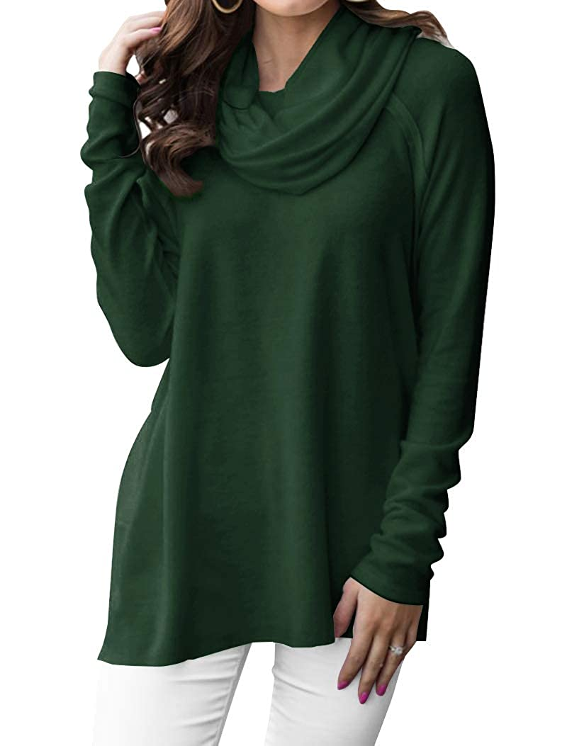 Minclouse Womens Long Sleeve Cowl Neck Pullover Tops Loose Casual Sweatshirts
