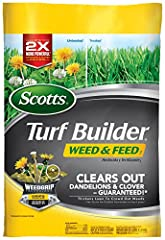 Scotts Turf Builder Weed & Feed3 with WeedGrip Technology, grips the weeds you see and the ones you don't for up to 2X more powerful dandelion and clover control*, all while feeding and thickening your lawn to crowd out weeds. *versus pre...
