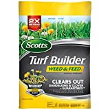 Scotts Turf Builder Weed & Feed3 with WeedGrip Technology, grips the weeds you see and the ones you don't for up to 2X more powerful dandelion and clover control*, all while feeding and thickening your lawn to crowd out weeds. *versus previous formul...