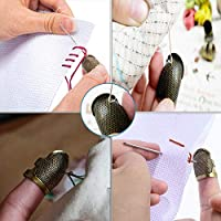 Finger Pads for Sewing and Stitching Finger Protection 3 Color Metal Thimble 10 Pieces Thimble and Finger Protector Copper Sewing Thimble with 4 Pcs Leather Finger Protector