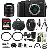Panasonic Lumix DMC-GX8 Mirrorless Micro Four Thirds Digital Camera (Body Only, Black) w/ H-HS12035 Vario 12-35mm Lens + H-H020AK 20mm F/1.7 II ASPH Lens + 128GB Focus Accessory Bundle