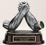 ARM Wrestling AWARD Trophy Resin Cast Sculpture Engraved 5 1/2''
