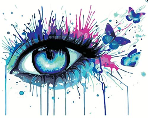 Paint by Numbers, May Trees DIY Painting by Numbers for Adults Beginner Kids - Blue Eye Butterflies 16x20 inch DIY Oil Paint Digital Painting (Frameless) (Butterfly Eye)