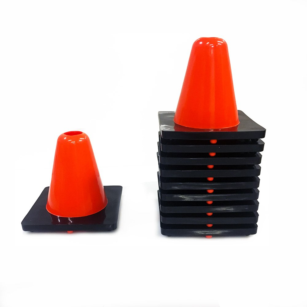 Hockeytrain.com 6 Inch Orange Cones - 10 Pack of Mini Orange Cones for Sports, Practice, and Traffic - Weighted Cones for Extra Durability - Perfect Cones for Indoor and Outdoor Activities