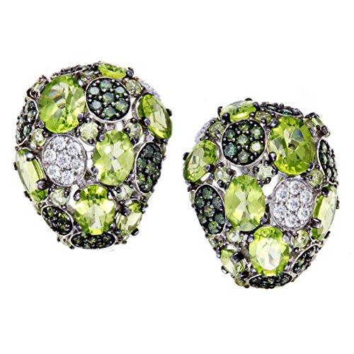 Roberto Coin Shanghai Womens 18K White Gold White and Green Diamond and Peridot Huggie Earrings