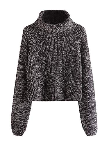 Milumia Turtleneck Winter Sweaters Long Sleeves Fitted Crop Sweater Fall Fashion Sexy Wear Brown